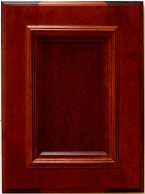 Mitchell Cabinet Door with applied moulding in Sangria Finish