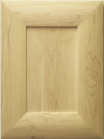 Tayside mitered kitchen cabinet door with flat center panel in Maple