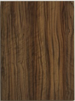 Woodgrain patterned high gloss cabinet door with rich brown and strong wood grain pattern and a matching edge band