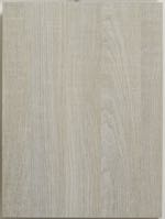 A textured laminate kitchen cabinet door shown in vertical grain. This is a light color with a wood grain pattern.